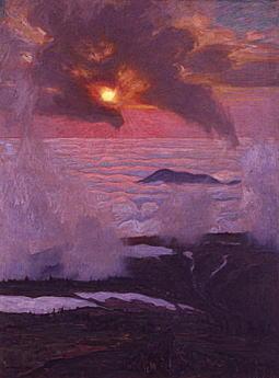 吉田博「雲海に入る日」1922.jpg