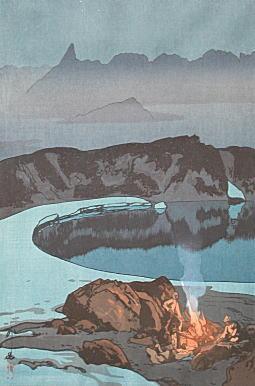吉田博「鷲羽岳の野営」1926.jpg