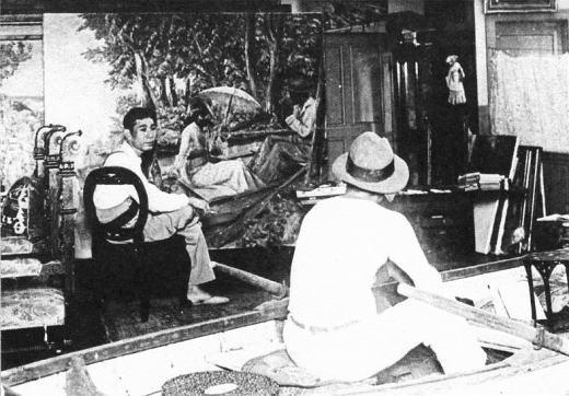 大久保作次郎「舟遊図」制作中1931.jpg