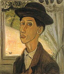 小出楢重「帽子を冠れる自画像」1928.jpg
