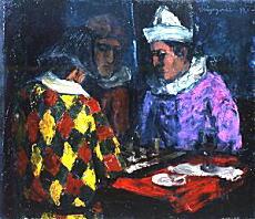 林重義「将棋をするピエロとアルルカン」1929-31.jpg