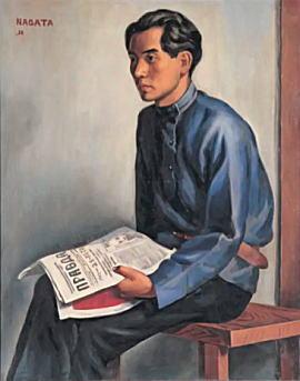 永田一脩「プラウダを持つ蔵原惟人」1928.jpg