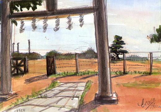 濱田煕「天祖社の境内から一本松を望む」1938.jpg