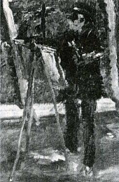 笠原吉太郎「下落合風景を描く佐伯祐三」192704.jpg