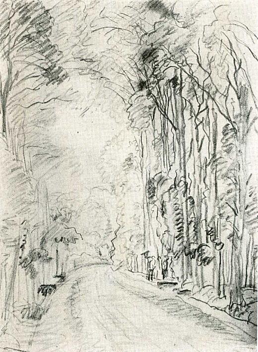 織田一磨「武蔵野の街道と並木」1932.jpg