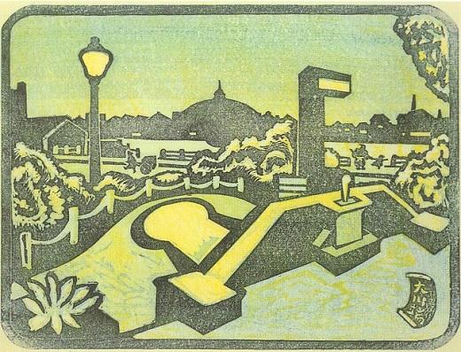 谷中安規「大川端」1940.jpg