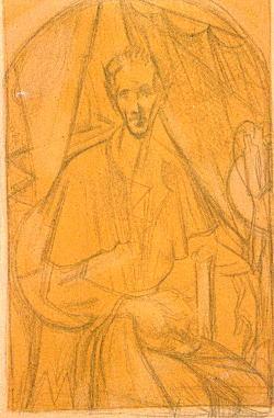 髑髏を持てる自画像デッサン1923.jpg